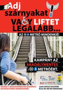 M3 metró lépcső előtt egy kerekesszékes lány