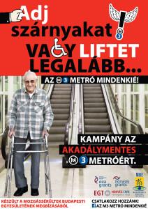 M3 metrő lépcső előtt járókeretes bácsi