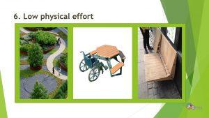 Minta egyetemesen tervezett kültéri bútorokra, akadálymentes térszervezésre és ösvénykialakításra